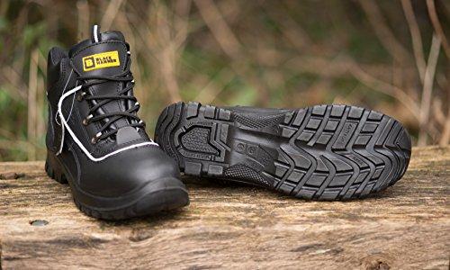 Para hombre de piel de botas de seguridad para hombre Puntera de acero de seguridad botas de seguridad S3 Calzado de trabajo tobillo piel negro martillo 7752 Negro