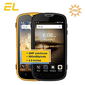 E&L W5S Rugged Unlocked Cell Phones with Waterproof IP68 Dustproof 3G WCDMA Android 6.0 Unlocked Outdoor Smartphones 〖AT&T/T-Mobile 〗 (Yellow)