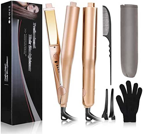 USHOW Flat Iron Hair Curler Hair Straightener 2 in 1 Professional Hair Curling Irons with 1 Inch 3D Concave and Convex Titanium Plate, Adjustable Temp and Dual Voltage for Travel Hair styling
