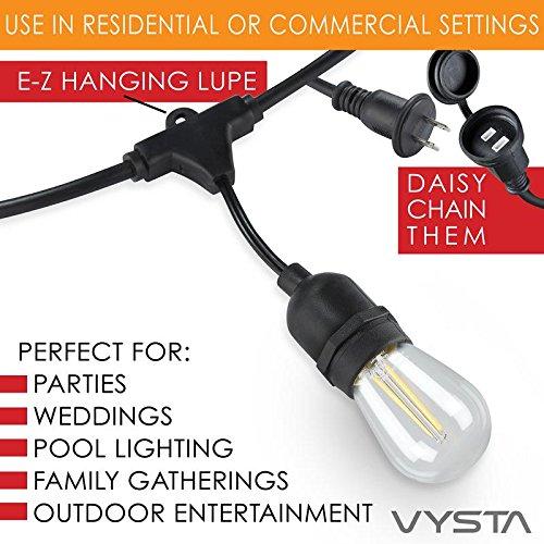 52 Feet LED Outdoor Patio String Lights ? Industrial Grade