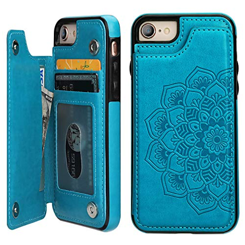 Vaburs iPhone 7iPhone 8Case Wallet with Card Holder, Embossed Mandala PatternFlower Premium PU Leather Double Magnetic Buttons Flip Shockproof Protective Case(Blue)