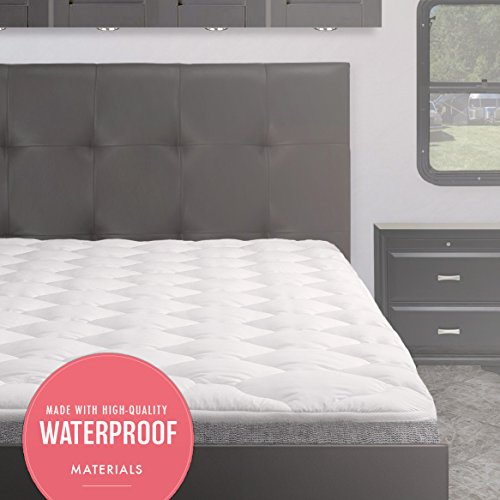 eLuxurySupply Waterproof RV Mattress Pad | Extra Plush Topper with Fitted Skirt...