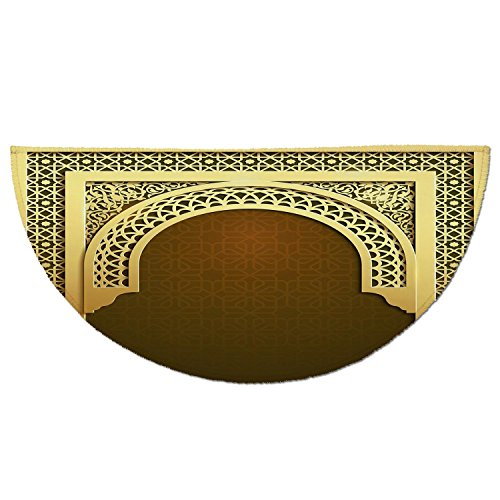Half Round Door Mat Entrance Rug Floor Mats,Moroccan,Middle Eastern Ramadan Greeting Scroll Arch Figure Celebration Holy Eid Theme,Golden Brown,Garage Entry Carpet Decor for House Patio Grass Water by iPrint