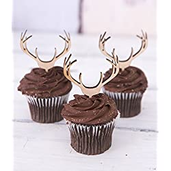 Cupcake Toppers Wooden Antlers Hunting or Boho Style Rustic Wood Deer Cake Toppers Country Birthday Theme Western