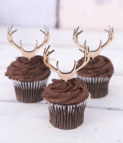 Cupcake Toppers Wooden Antlers Hunting Or Boho Style Rustic Wood Deer Cake Country Birthday Theme Western