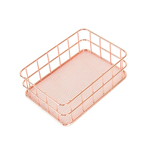 Daixers Iron Desk Organizer Bin Letter Tray,Home & Office Supplies Holder Basket (Brass Flanged Cover)