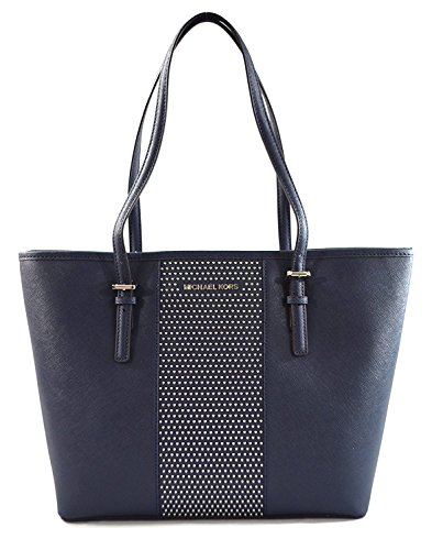 MICHAEL Michael Kors Women's Jet Set Travel Micro Stud Leather Carry All Tote Handbag (Navy) (Light Blue Michael Kors Handbags)