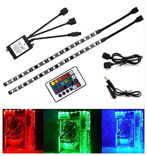 RGB TV Backlight Kit USB LED Strip Light Neon Accent Bias Lighting with 24keys Remote Controller for 24 to 65inch HDTV LCD Desktop PC Monitor (Set of 2) by YZLED (Image #4)