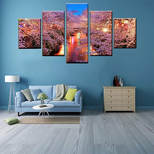 Kkxdpq Framed 5 Pieces Painting Wallpaper HD Print On Canvas Wall Art Waterproof Home Decor Picture Cherry Blossom Tree Flowering Landscape River