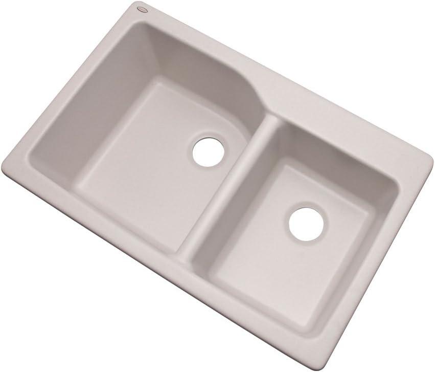 Dekor Sinks 62000Q Venti Composite Granite Double Bowl Kitchen Sink, 34.25-Inch, Soft White