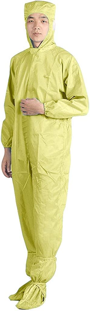 Lazapa Protective Coveralls Suit Anti-Static Waterproof Anti-Fog Reusable Protective Isolation Suit Elastic Wrist Cuffs