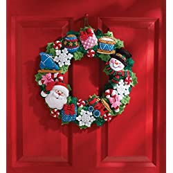 Bucilla Felt Applique Wall Hanging Wreath Kit, 15 by 15-Inch, 86363 Christmas Toys