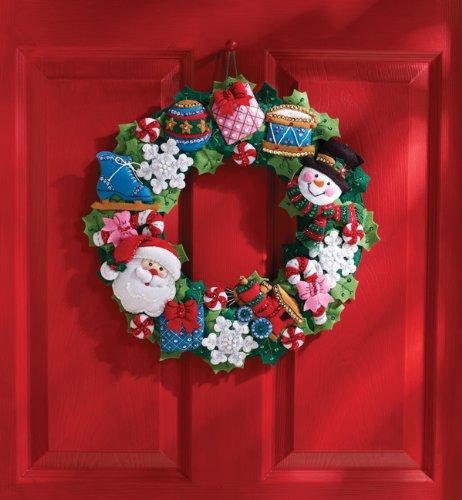 Bucilla Felt Applique Wall Hanging Wreath Kit, 15 by 15-Inch