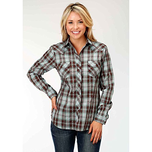Snap Close Western Shirt (Roper Women's 1204 Chocolate and Turquoise Plaid Brown Medium)