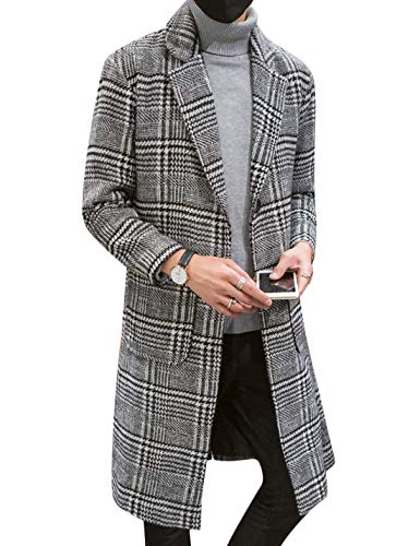 Uaneo Men's Casual Notch Lapel Single Breasted Plaid Mid Long Trench Pea Coat (Gray, Medium)