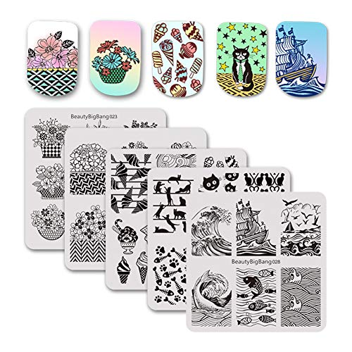 (BEAUTYBIGBANG 5Pcs Nail Stamping Square Plate Summer Theme - Billow Ice Cream Flowers Animals Image Plates Nail Art Stamping Kit Manicure Template set by Solon Design)