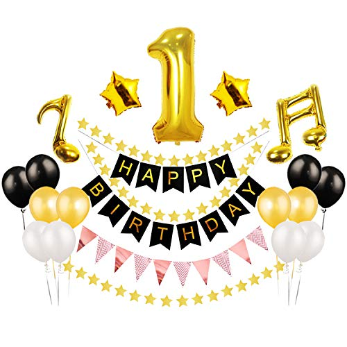 Baby Shower First Birthday Latex & Foil Balloons Set Happy 1st Birthday Banner Flag Twinkle Little Star Party Decoration Music Note Sign Supplies.