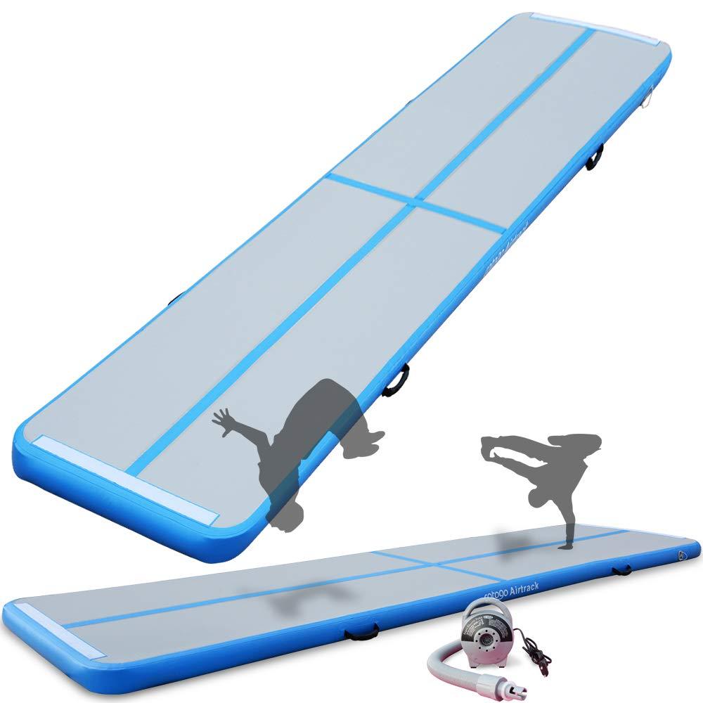 体操マット エアマット空気式 コンパクト 折畳 マット 防水 エアーポンプ付き 体操、競技公演、トレーニング、柔道、空手に適し B07MSB6WC1 青 700*100*10 cm