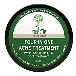 TreeActiv Four-in-One Acne Treatment | Wash, Scrub, Mask, and Spot Treatment | Heals Rosacea | Exfoliating Sugar | Face or Body | Natural Sulfur Clear Skin Cleanser | Bentonite (8 Ounce)