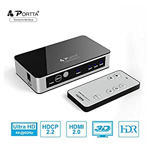 HDMI Switch, Portta Premium 4K HDMI Switcher 3 Port HDMI Switch Splitter 3 to 1 HDMI Switches V2.0 with IR Remote Control support Ultra HD 3D 4K@60Hz 4:4:4 HDCP2.2 HDR for PS3/4/4 PRO/Xbox One/Blu-ray Player/ Roku/Apple TV/Fire TV and More
