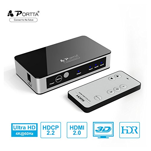 HDMI Switch,Portta Premium 4K HDMI Switcher 3 Port HDMI Switch Splitter 3 to 1 HDMI Switches V2.0 with IR Remote Control Ultra HD 3D 4K@60Hz for PS4 PRO/Xbox One Player/Roku/Apple TV
