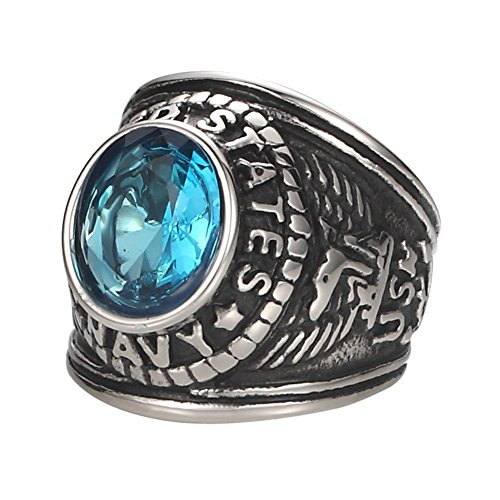 Mens Cubic Blue Artificial Zirconia Glass Stainless Steel Ring, United States Navy Military,Silver Black (Titanium Navy Seal)