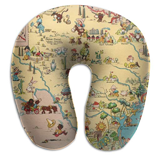 Texas Cartoon Map Airplanes Travel Neck Pillow Comfort and Convenience Sleeping Neck Pain U Shaped Pillow for Outdoors Car Office Home Travel Pillow Back Cushion Nap Pillow (Map Cartoon Texas)