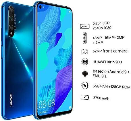 "HUAWEI Nova 5T (128GB, 6GB) 6.26"" LCD, Kirin 980, 48MP Quad Camera, 22.5W Fast Charge, Dual SIM GSM Unlocked Global 4G LTE International EU Plug with US Adapter (Crush Blue) WeeklyReviewer"