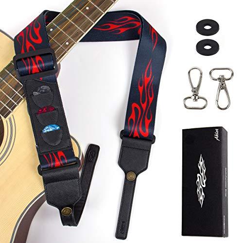 - Guitar Strap, 2'' Adjustable Flame Polyester Guitar Belt with Picks Holders Strap Locks and Metal Clips for Acoustic Electric Classical Guitar Ukulele Banjo