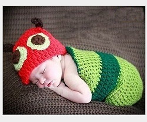 [Elee Infant Crochet Knit Costumes Cute Cartoon Animal Photography Props (#6 Caterpillar)] (Cute Unique Infant Halloween Costumes)