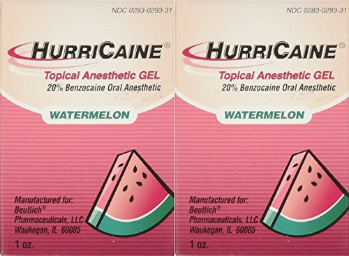 Beutlich LP Pharmaceuticals Hurricaine Topical Anesthetic Gel, Watermelon, 1 Ounce - Pack of 2