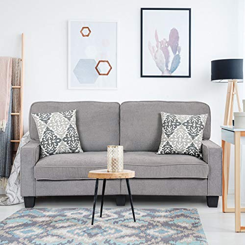 Giantex Futon Sofa Couch Loveseat Fabric Upholstered Removable Back Seat Cushion Modern Home Living Room Furniture Set Bedroom Sofa Bed (Gray) (Sets Bedroom Furniture Nice)