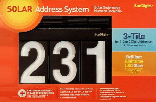 Sundigits 3 Digit Solar Led House Numbers (Address Light Solar Led)