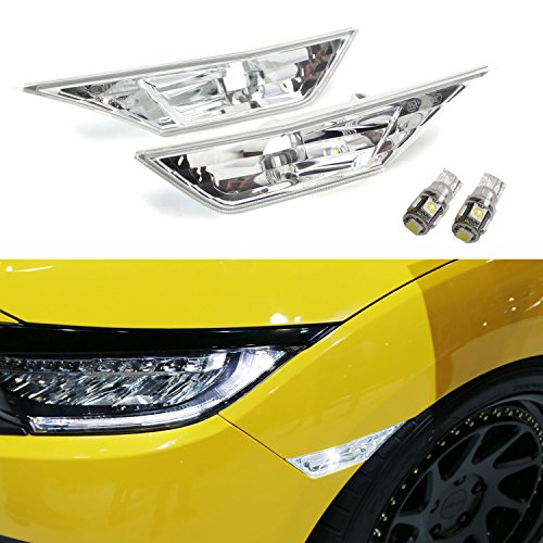 Clear Front Side Marker (iJDMTOY (2) Xenon White LED Lights w/ JDM Clear Lens Side Marker Lamps For 10th Gen Honda Civic Sedan/Coupe/Hatchback)