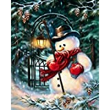 DIY Christmas Gift, 5D Diamond Painting DIY Resin Round Diamond Cross Stitch Kits Christmas Decorative Present 16x12 Inch (Snowman)