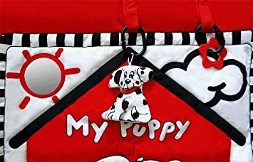 Black, White Red Prop-up Puppy Tummy Time Activity Playmat