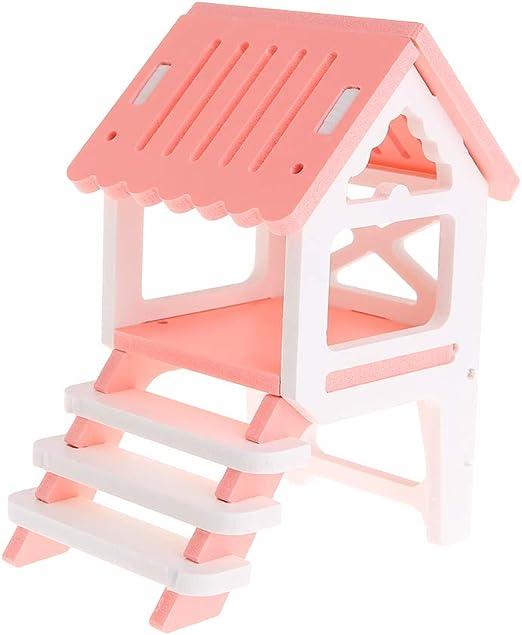 Fuwahahah - Nido de hámster de doble capa, juguetes de madera ecológica, escalera, regalos divertidos y lujosos para esconder el sueño, para hámster, chinchilla, ardilla, cobaya, productos rosa: Amazon.es: Hogar