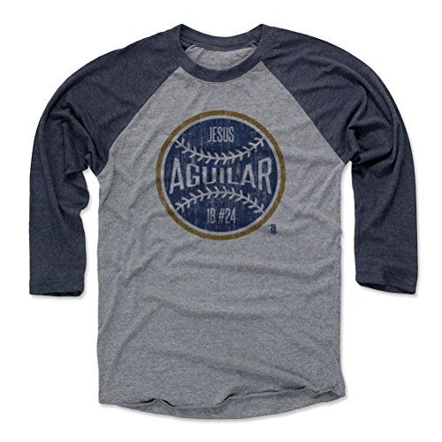 500 LEVEL Jesus Aguilar Baseball Tee Shirt Large Navy/Heather Gray - Milwaukee Baseball Raglan Shirt - Jesus Aguilar Milwaukee Ball B