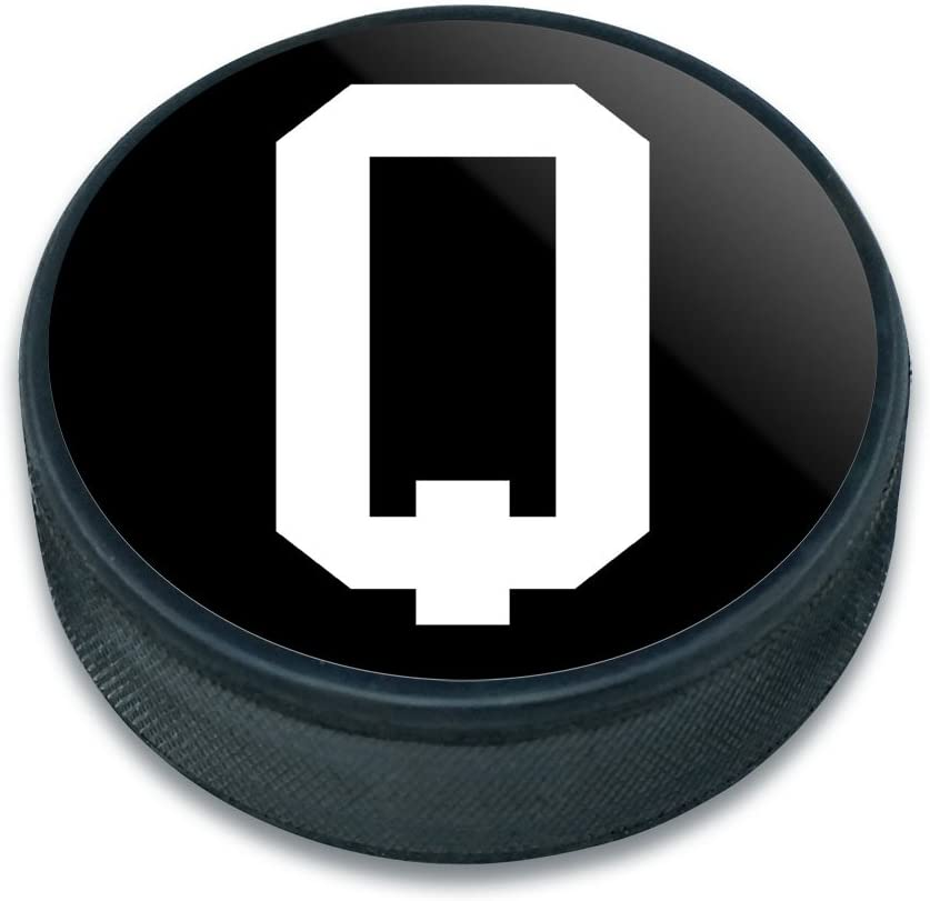 Graphics and More Ice Hockey Puck Letter Initial Black White