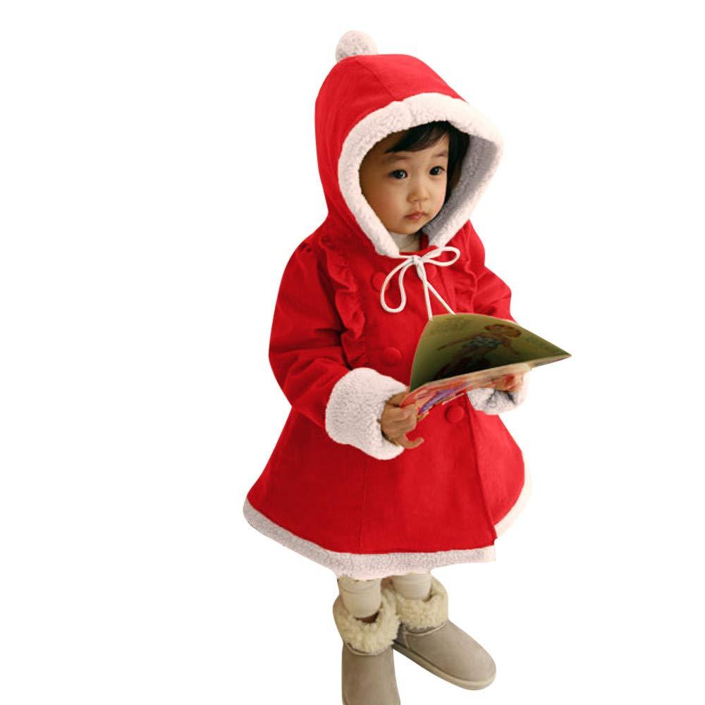Londony▼Clearance Sales,Baby Little Girls Ruffle Button Winter Fleece Hoodies Jacket Christmas Coat Toddler Outwear