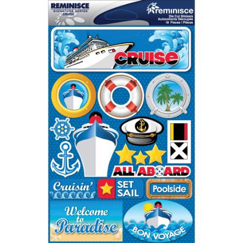 Reminisce Signature Dimensional Stickers Sheet, 4.5 by 6-Inch, (Cruise Scrapbooking)