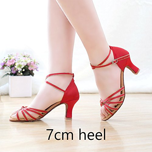 YFF Zapatos de baile latino Mujer Zapatos de baile Zapatos de Baile de salón de tango Red gold 7cm heel