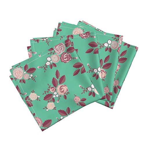 Mint English Rose Roses Shabby Chic Floral Country Linen Cotton Dinner Napkins Country Lane Romance Mint by Katebillingsley Set of 4 Dinner Napkins - Country Lane Dinner