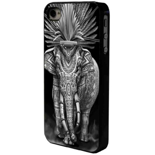 iphone 4 4S Aztec Indian Elephant Cool Funky Design Hülle Case Back Cover Metall und Kunststoff