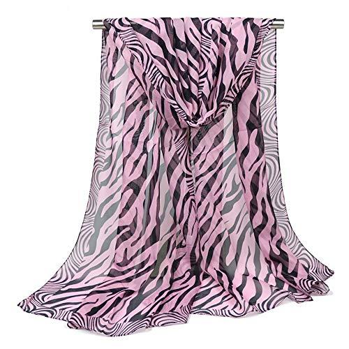 Ezyforu Women Scarves Silk Polyester Black Pink Zebra Pashmina Scarf Sun Protection Summer Beach Oversized Shawl Wraps