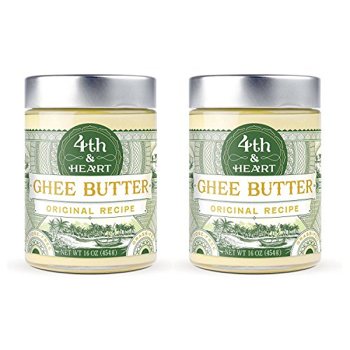 Original Grass Fed Ghee Butter by 4th & Heart, 32 Ounce (2 x 16oz Jars), Pasture Raised, Non-GMO, Lactose and Casein Free, Certified Paleo