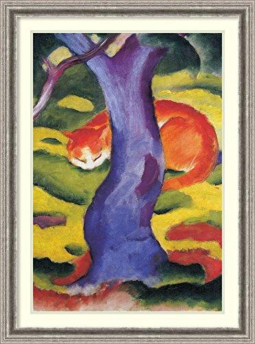 Framed Wall Art Print Cat Behind Tree by Franz Marc 26.75 x 36.00