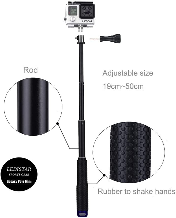 Zhaowei Travel Multi-Function One Key Revolve Selfie Stick 360/° Front and Rear Steering Rod for DJI OSMO Action Black