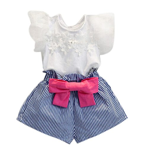(Hot Sale!2-7 Years Girls Lace T-Shirt Stripe Shorts Clothes Suit (2-3T,)
