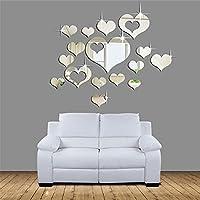 Ikevan 1Set 15pcs 3D Acrylic Heart-shaped Mirror Wall...